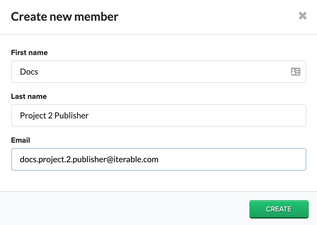 Create new member window