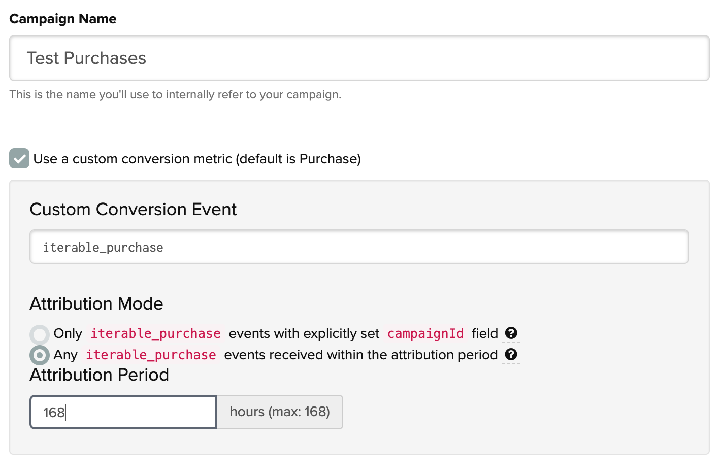 Specifying a custom conversion event in Iterable