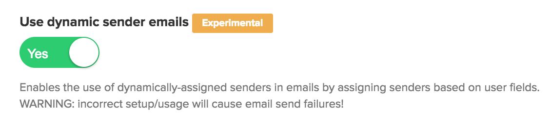 Use Dynamic Sender Emails option