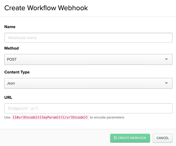 Creating a custom workflow webhook