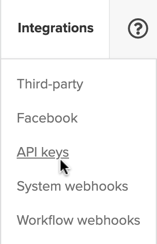 API Keys navigation item
