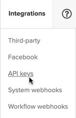 API Keys navigation item