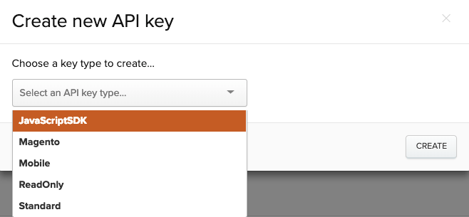Creating a new API key in Iterable