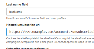 Hosted Unsubscribe URL input