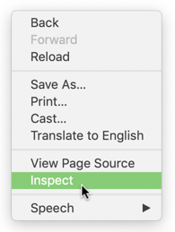 Inspect menu option
