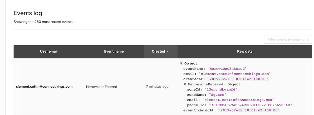 Herow events in the Iterable events log