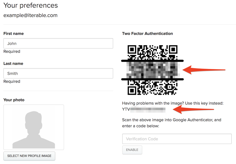 Enabling two-factor authentication for user login – Iterable