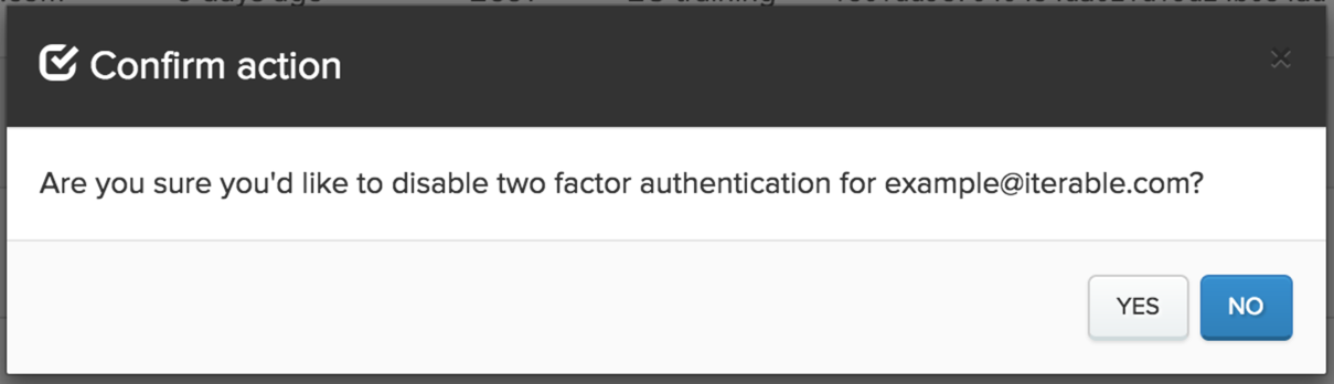 Disable two factor auth alert