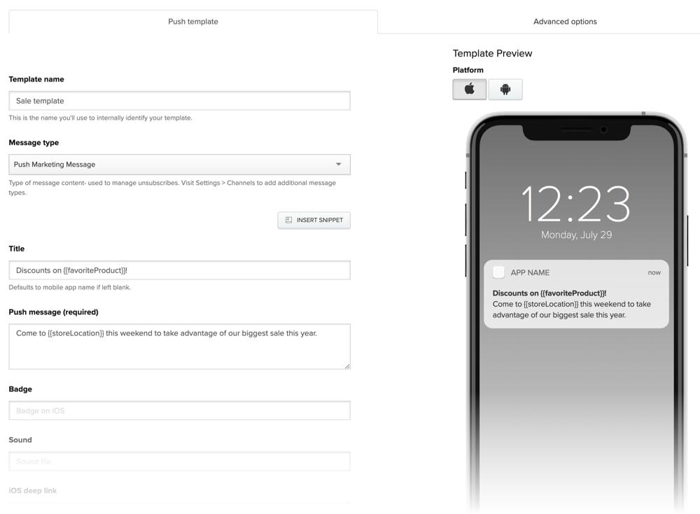New push notification template