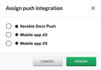 Assign Push Integration window