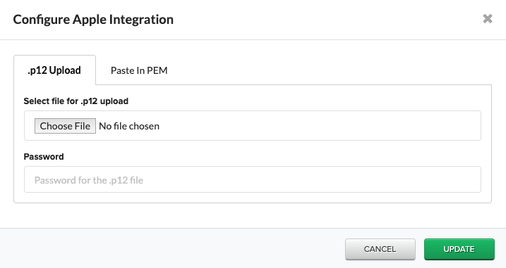 Configure Apple Integration window