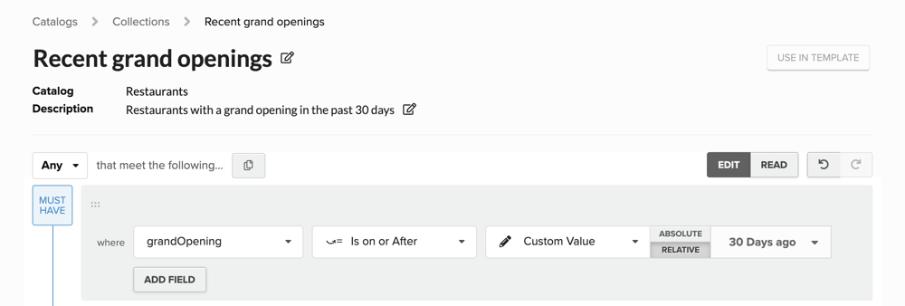 Using a relative date in a collection definition