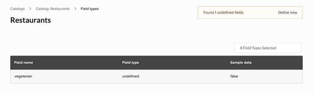 Field definitions screen