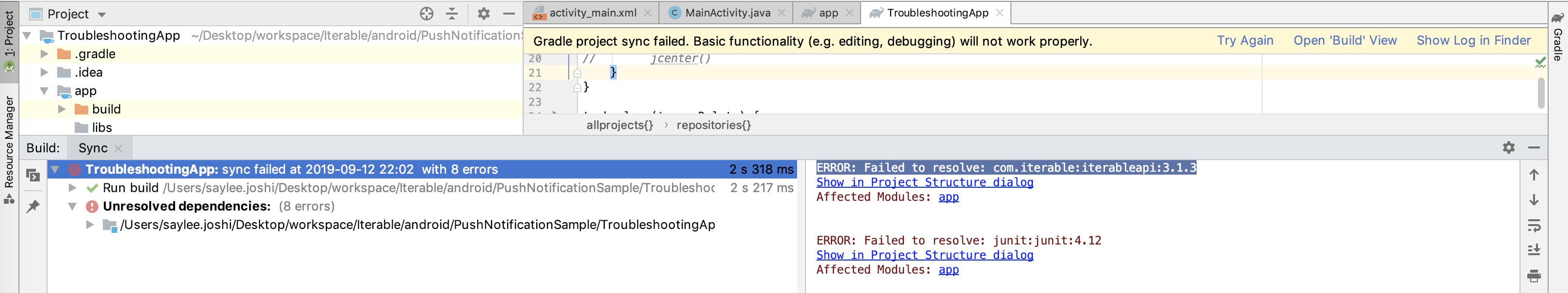 Failed API