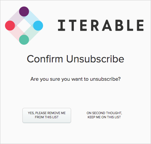Confirm unsubscription message