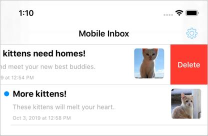 Swipe to delete an inbox message