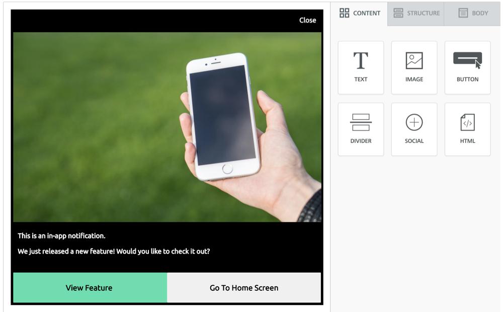 Sample in-app message