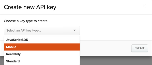 Creating a Mobile API key