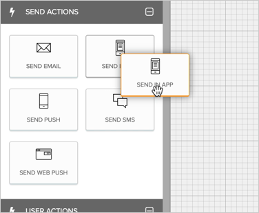 Dragging a Send In-App node to the workflow canvas