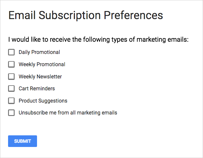Sample subscription preference center