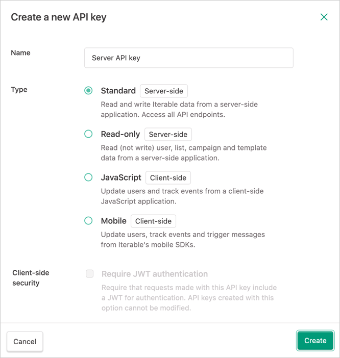 Creating a new API key
