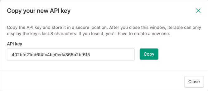 Copying an API key