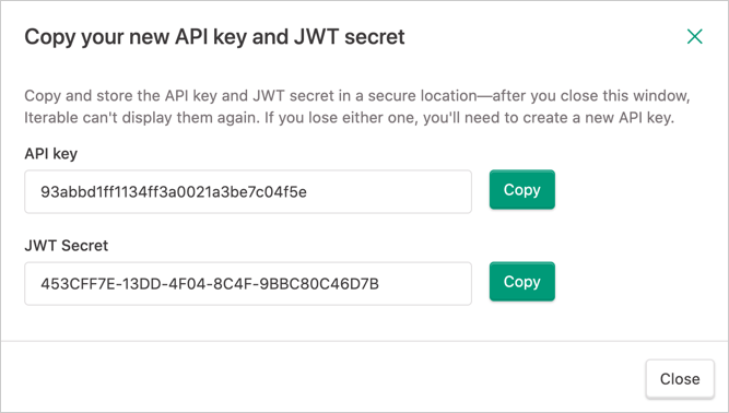 Copying an API key and its JWT secret