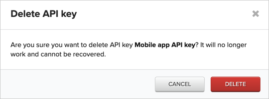 Confirming the deletion of an API key