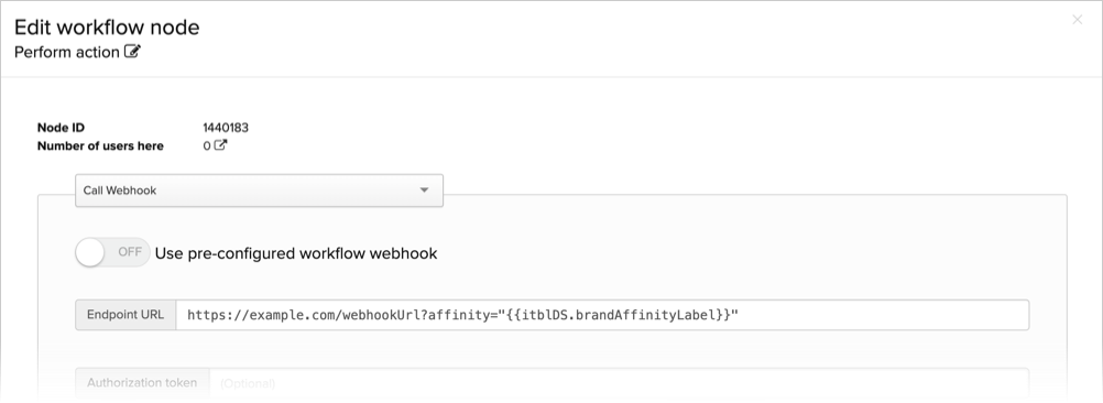 Using Brand Affinity labels in a workflow webhook
