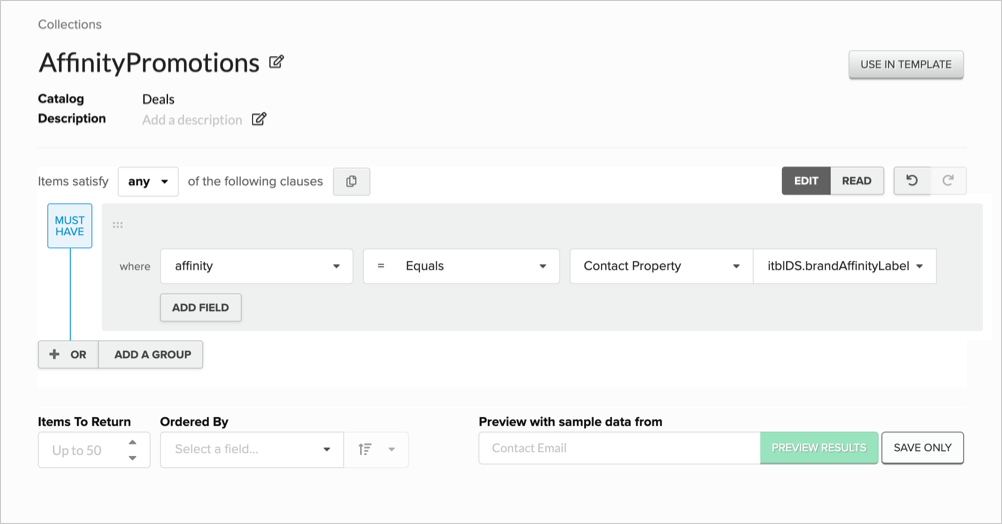 Using a Brand Affinity label in a Catalog collection