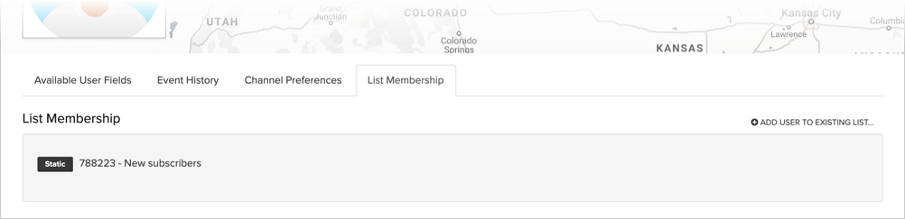 List membership on the user profile tab
