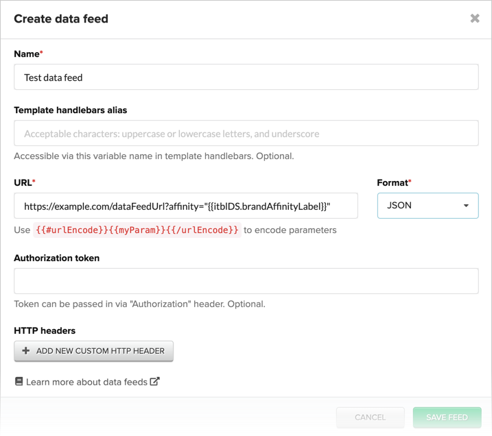 Using a Brand Affinity label in a data feed