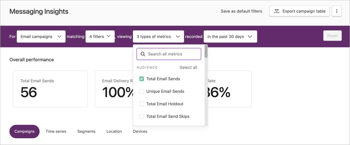 Selecting metrics