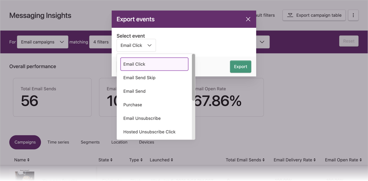 Selecting an event to export