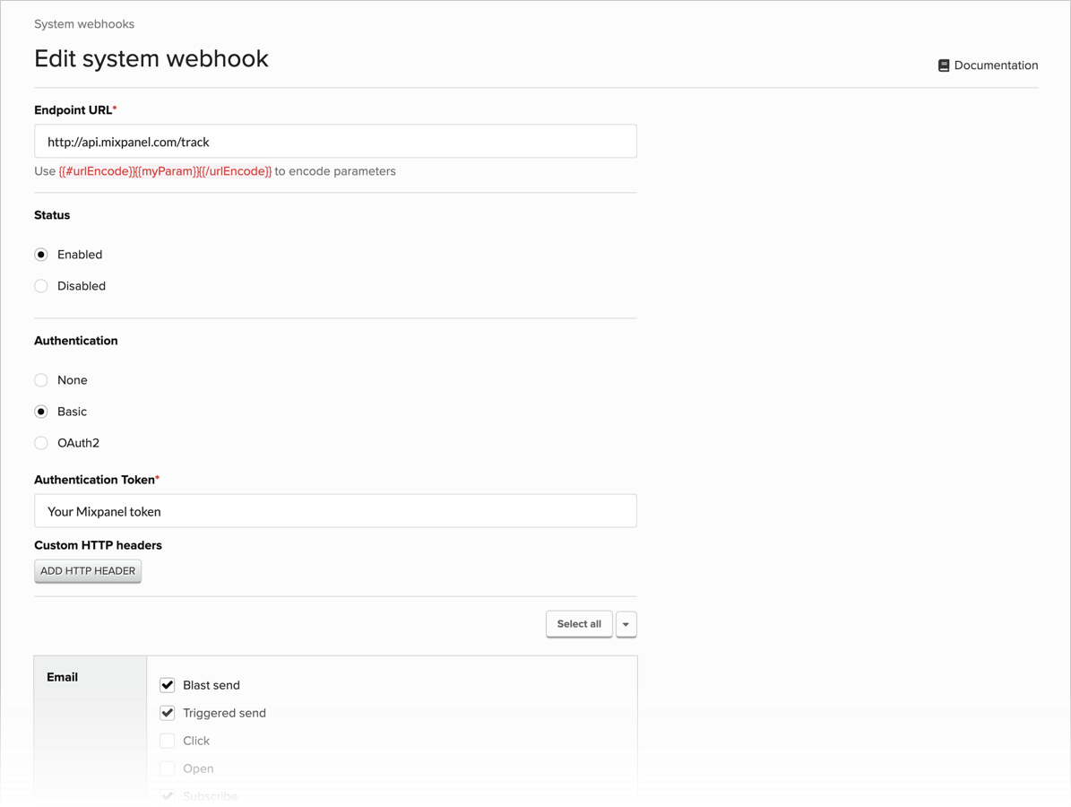 Configuring a system webhook