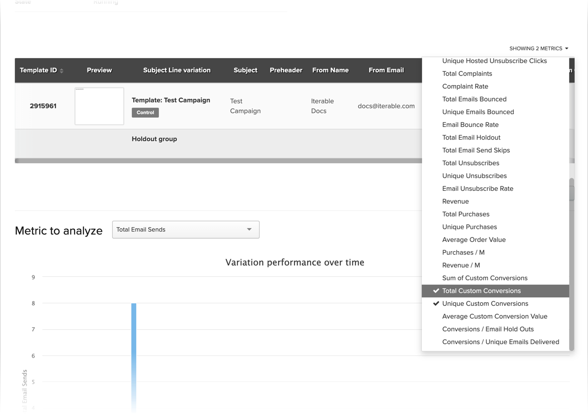 Selecting metrics to display in the Experiment Analytics table