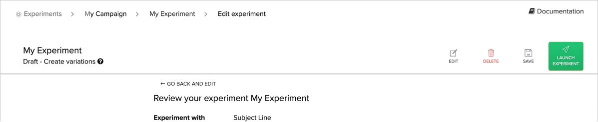Launch Experiment button