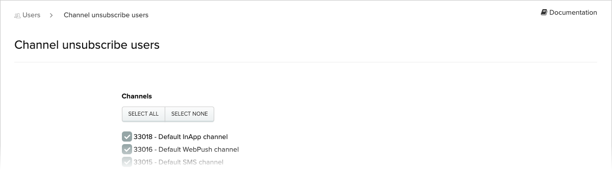 Channel Unsubscribe Users screen