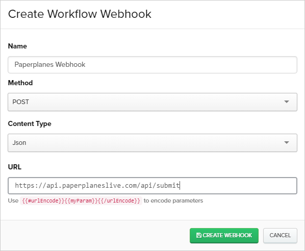 Creating an Paperplanes workflow webhook in Iterable