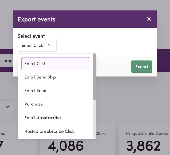 Exporting events